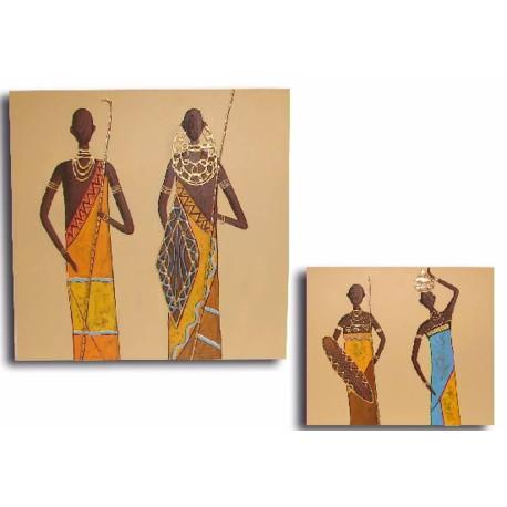 Pareja 2 cuadros mujeres africanas